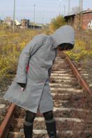 Mantel Kapuze grau