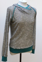 Shirt Langarm, Kapuze, Türkise Bündchen