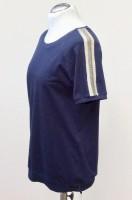 Shirt kurzer Arm, blau mit Glitzerstreifen